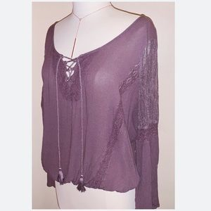American Eagle Boho Tassel Top